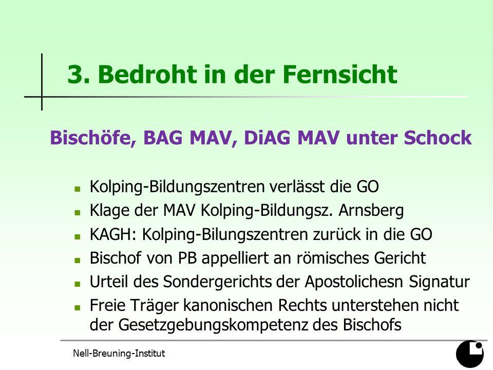 3. Bedroht in der Fernsicht Bischöfe, BAG MAV, DiAG MAV unter Schock Kolping-Bildungszentren verlässt die GO Klage der MAV Kolping-Bildungsz. Arnsberg