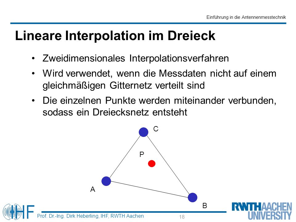 Einführung in die Antennenmesstechnik Prof. Dr.-Ing. Dirk Heberling, IHF, RWTH Aachen Lineare Interpolation im Dreieck Zweidimensionales Interpolation