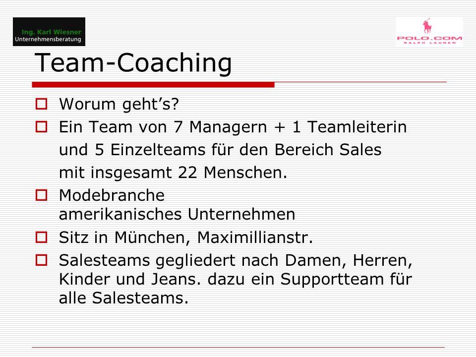 Team-Coaching  Worum geht's?  Ein Team von 7 Managern + 1 Teamleiterin und 5 Einzelteams für den Bereich Sales mit insgesamt 22 Menschen.  Modebran