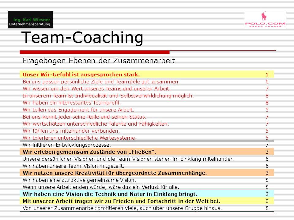 """Team-Coaching Unser Wir-Gefühl ist ausgesprochen stark.1 Bei uns passen persönliche Ziele und Teamziele gut zusammen.6 Wir wissen um den Wert unseres Teams und unserer Arbeit.7 In unserem Team ist Individualität und Selbstverwirklichung möglich.8 Wir haben ein interessantes Teamprofil.8 Wir teilen das Engagement für unsere Arbeit.5 Bei uns kennt jeder seine Rolle und seinen Status.7 Wir wertschätzen unterschiedliche Talente und Fähigkeiten.7 Wir fühlen uns miteinander verbunden.5 Wir tolerieren unterschiedliche Wertesysteme.5 Wir initiieren Entwicklungsprozesse.7 Wir erleben gemeinsam Zustände von """"Fließen .3 Unsere persönlichen Visionen und die Team-Visionen stehen im Einklang miteinander.6 Wir haben unsere Team-Vision mitgeteilt.6 Wir nutzen unsere Kreativität für übergeordnete Zusammenhänge.3 Wir haben eine attraktive gemeinsame Vision.8 Wenn unsere Arbeit enden würde, wäre das ein Verlust für alle.8 Wir haben eine Vision die Technik und Natur in Einklang bringt.2 Mit unserer Arbeit tragen wir zu Frieden und Fortschritt in der Welt bei.0 Von unserer Zusammenarbeit profitieren viele, auch über unsere Gruppe hinaus.8 Fragebogen Ebenen der Zusammenarbeit"""