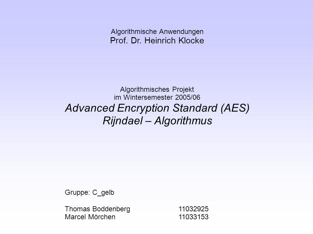 42 Advanced Encryption Standard (AES) Rijndael - Algorithmus Laufzeitanalyse Asymptotische Laufzeit Analyse der Funktion shiftRow() ● Verschieben aller Wert einer Zeile um einen bestimmten Wert abhängig von der Blockgröße ● Jedes n wird i konstanter Laufzeit verschoben, somit ergibt sich eine Laufzeit von O(n), oder besser gesagt eine Konstante Laufzeit für das Verschieben eines Blocks.