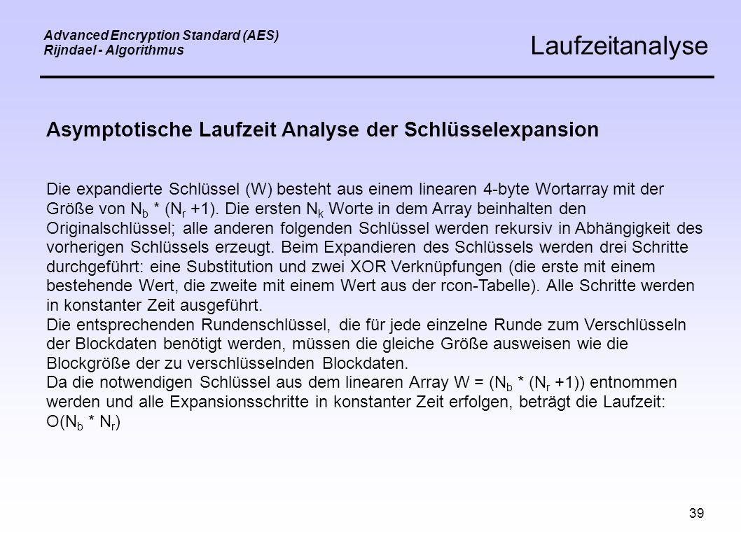 39 Advanced Encryption Standard (AES) Rijndael - Algorithmus Laufzeitanalyse Asymptotische Laufzeit Analyse der Schlüsselexpansion Die expandierte Schlüssel (W) besteht aus einem linearen 4-byte Wortarray mit der Größe von N b * (N r +1).
