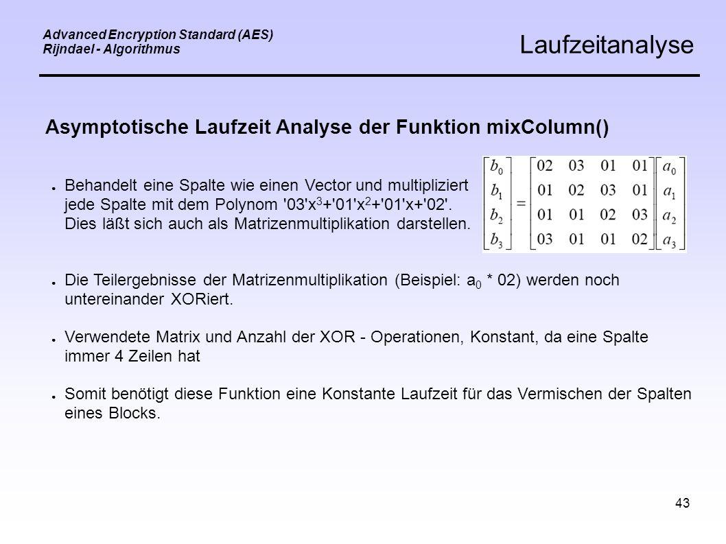 43 Advanced Encryption Standard (AES) Rijndael - Algorithmus Laufzeitanalyse Asymptotische Laufzeit Analyse der Funktion mixColumn() ● Behandelt eine Spalte wie einen Vector und multipliziert jede Spalte mit dem Polynom 03 x 3 + 01 x 2 + 01 x+ 02 .