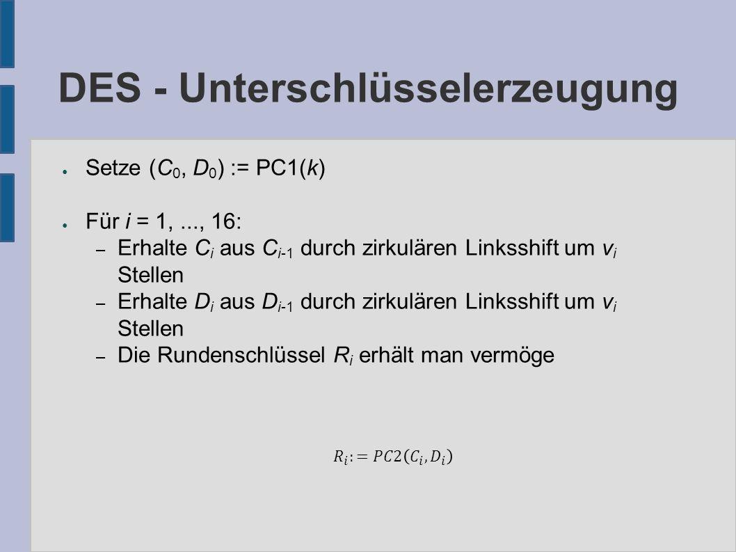 ● Setze (C 0, D 0 ) := PC1(k) ● Für i = 1,..., 16: – Erhalte C i aus C i-1 durch zirkulären Linksshift um v i Stellen – Erhalte D i aus D i-1 durch zi