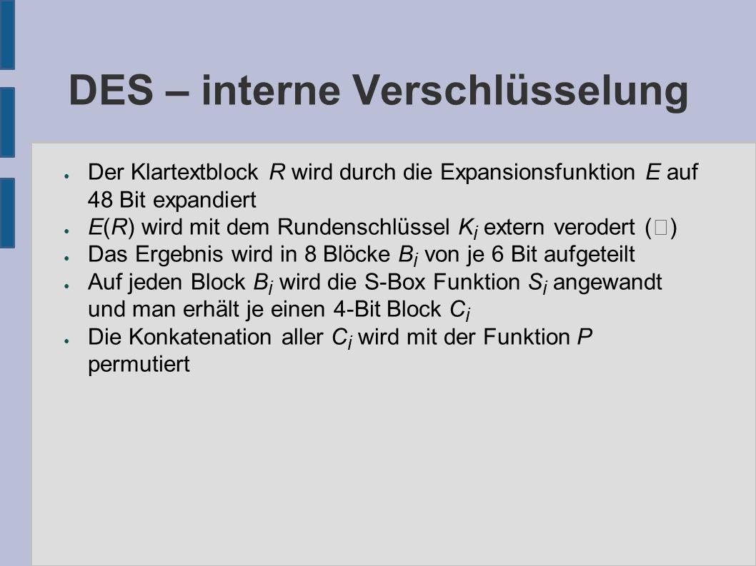 DES – interne Verschlüsselung ● Der Klartextblock R wird durch die Expansionsfunktion E auf 48 Bit expandiert ● E(R) wird mit dem Rundenschlüssel K i extern verodert (  ) ● Das Ergebnis wird in 8 Blöcke B i von je 6 Bit aufgeteilt ● Auf jeden Block B i wird die S-Box Funktion S i angewandt und man erhält je einen 4-Bit Block C i ● Die Konkatenation aller C i wird mit der Funktion P permutiert