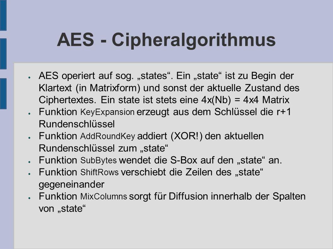 """AES - Cipheralgorithmus ● AES operiert auf sog. """"states"""". Ein """"state"""" ist zu Begin der Klartext (in Matrixform) und sonst der aktuelle Zustand des Cip"""