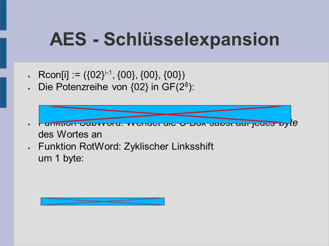 AES - Schlüsselexpansion ● Rcon[i] := ({02} i-1, {00}, {00}, {00}) ● Die Potenzreihe von {02} in GF(2 8 ): ● Funktion SubWord: Wendet die S-Box subst
