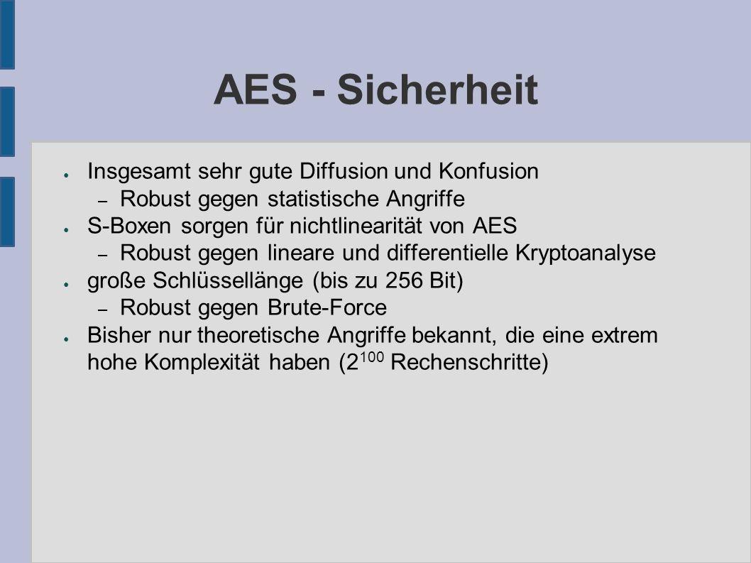 AES - Sicherheit ● Insgesamt sehr gute Diffusion und Konfusion – Robust gegen statistische Angriffe ● S-Boxen sorgen für nichtlinearität von AES – Rob