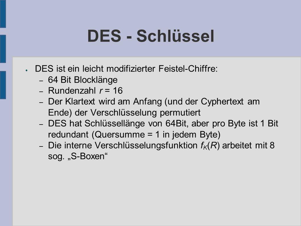 DES - Schlüssel ● DES ist ein leicht modifizierter Feistel-Chiffre: – 64 Bit Blocklänge – Rundenzahl r = 16 – Der Klartext wird am Anfang (und der Cyphertext am Ende) der Verschlüsselung permutiert – DES hat Schlüssellänge von 64Bit, aber pro Byte ist 1 Bit redundant (Quersumme = 1 in jedem Byte) – Die interne Verschlüsselungsfunktion f K (R) arbeitet mit 8 sog.