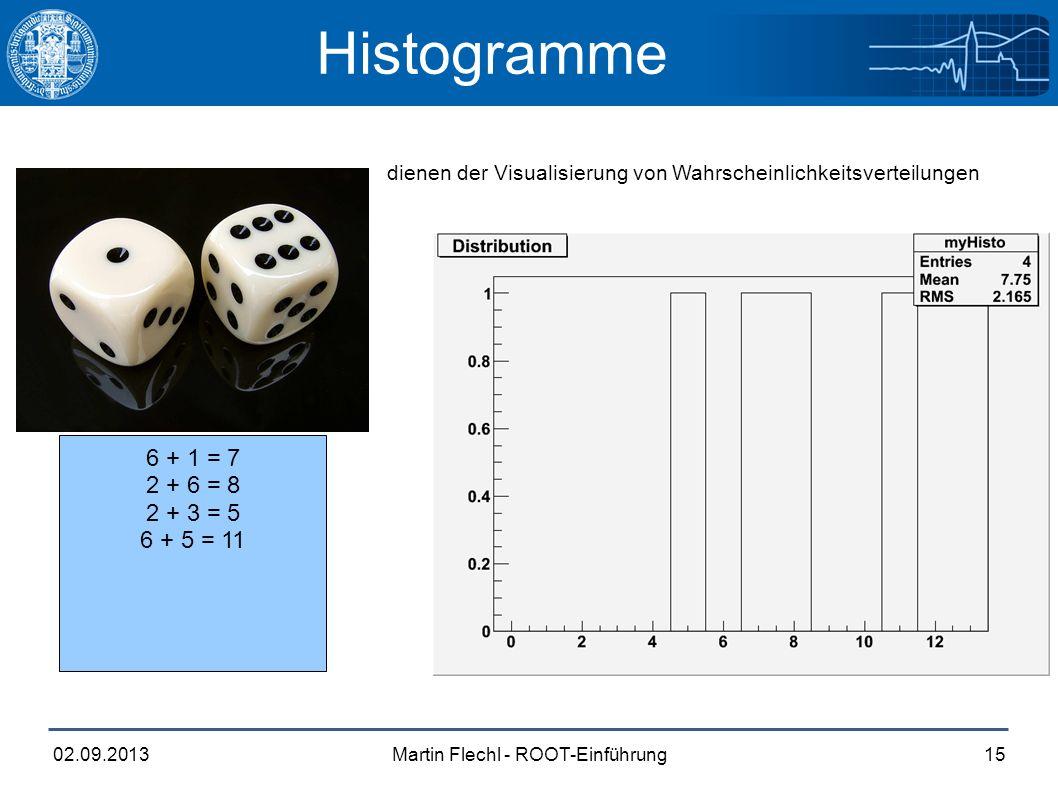 Martin Flechl - ROOT-Einführung02.09.201315 Histogramme dienen der Visualisierung von Wahrscheinlichkeitsverteilungen 6 + 1 = 7 2 + 6 = 8 2 + 3 = 5 6 + 5 = 11