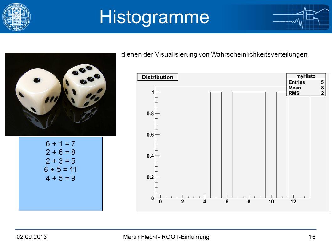 Martin Flechl - ROOT-Einführung02.09.201316 Histogramme dienen der Visualisierung von Wahrscheinlichkeitsverteilungen 6 + 1 = 7 2 + 6 = 8 2 + 3 = 5 6 + 5 = 11 4 + 5 = 9