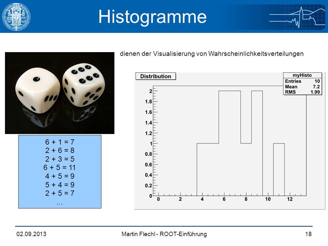 Martin Flechl - ROOT-Einführung02.09.201318 Histogramme dienen der Visualisierung von Wahrscheinlichkeitsverteilungen 6 + 1 = 7 2 + 6 = 8 2 + 3 = 5 6 + 5 = 11 4 + 5 = 9 5 + 4 = 9 2 + 5 = 7...