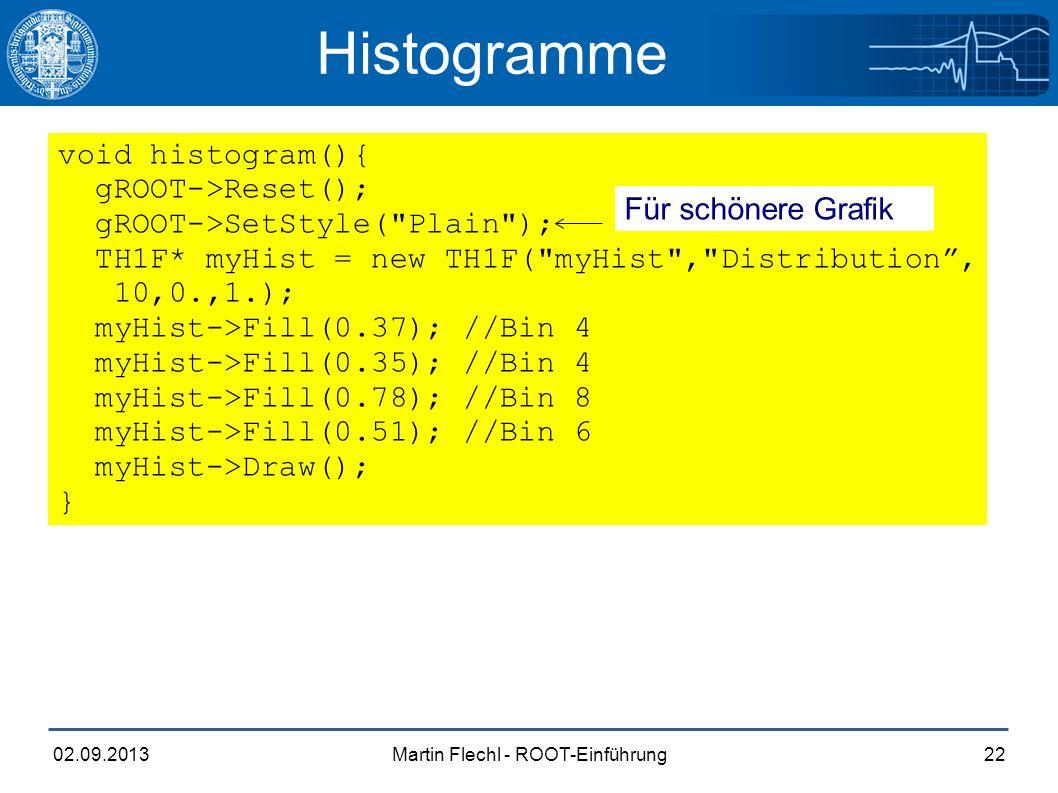 Martin Flechl - ROOT-Einführung02.09.201322 Histogramme void histogram(){ gROOT->Reset(); gROOT->SetStyle( Plain ); TH1F* myHist = new TH1F( myHist , Distribution , 10,0.,1.); myHist->Fill(0.37); //Bin 4 myHist->Fill(0.35); //Bin 4 myHist->Fill(0.78); //Bin 8 myHist->Fill(0.51); //Bin 6 myHist->Draw(); } Für schönere Grafik