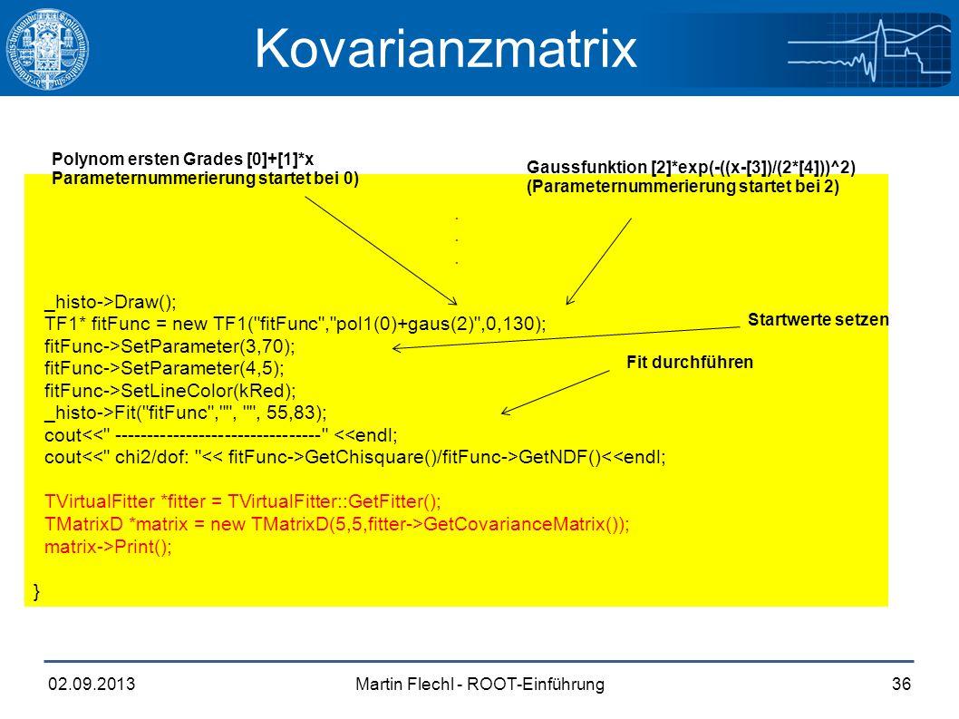 Martin Flechl - ROOT-Einführung02.09.201336 Kovarianzmatrix.