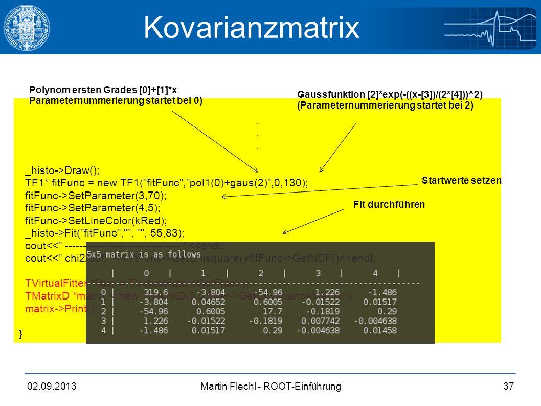 Martin Flechl - ROOT-Einführung02.09.201337 Kovarianzmatrix.