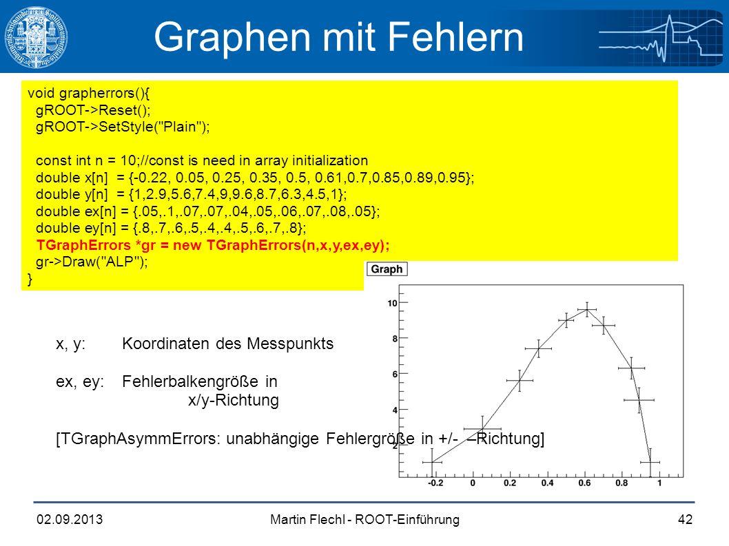 Martin Flechl - ROOT-Einführung02.09.201342 Graphen mit Fehlern void grapherrors(){ gROOT->Reset(); gROOT->SetStyle(