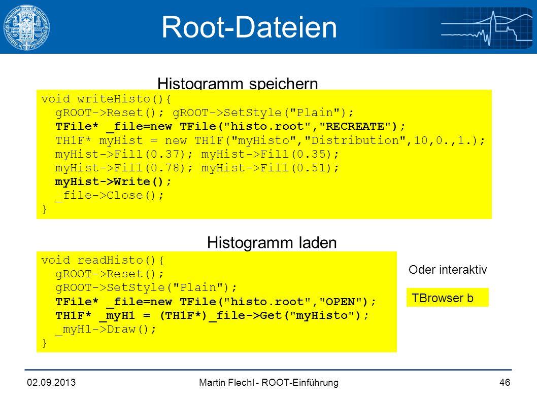 Martin Flechl - ROOT-Einführung02.09.201346 Root-Dateien Histogramm speichern Histogramm laden void readHisto(){ gROOT->Reset(); gROOT->SetStyle(