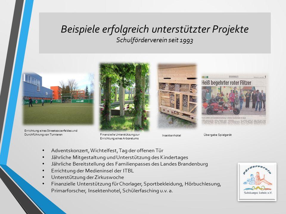 Beispiele erfolgreich unterstützter Projekte Schulförderverein seit 1993 Errichtung eines Streetsoccerfeldes und Durchführung von Turnieren Finanziell