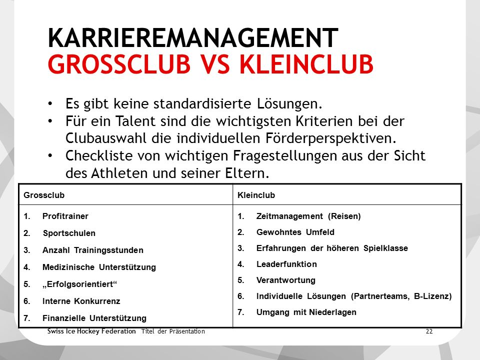Swiss Ice Hockey Federation KARRIEREMANAGEMENT GROSSCLUB VS KLEINCLUB Es gibt keine standardisierte Lösungen.