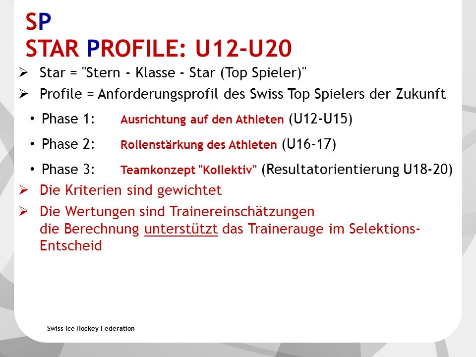 Swiss Ice Hockey Federation SP STAR PROFILE: U12-U20  Star =