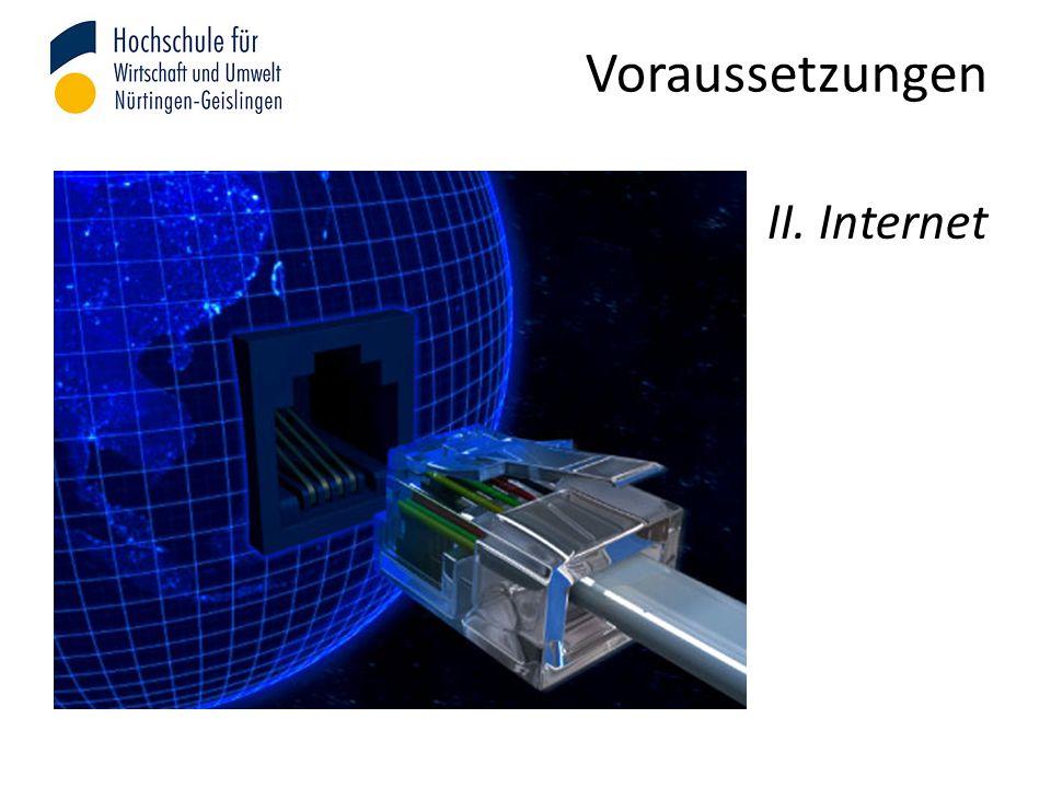 Voraussetzungen II. Internet