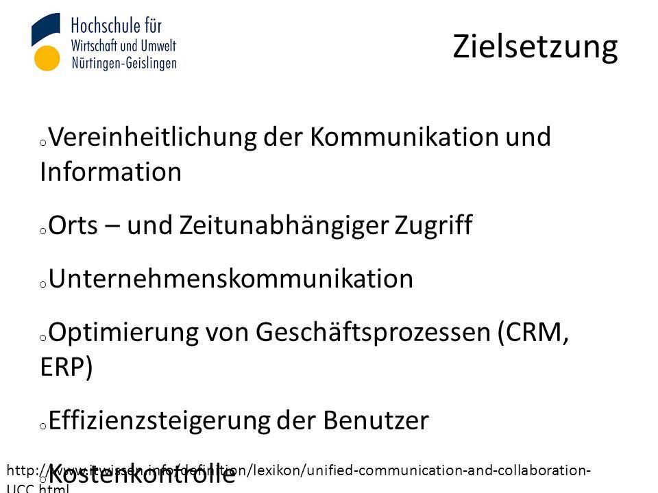 Zielsetzung o Vereinheitlichung der Kommunikation und Information o Orts – und Zeitunabhängiger Zugriff o Unternehmenskommunikation o Optimierung von