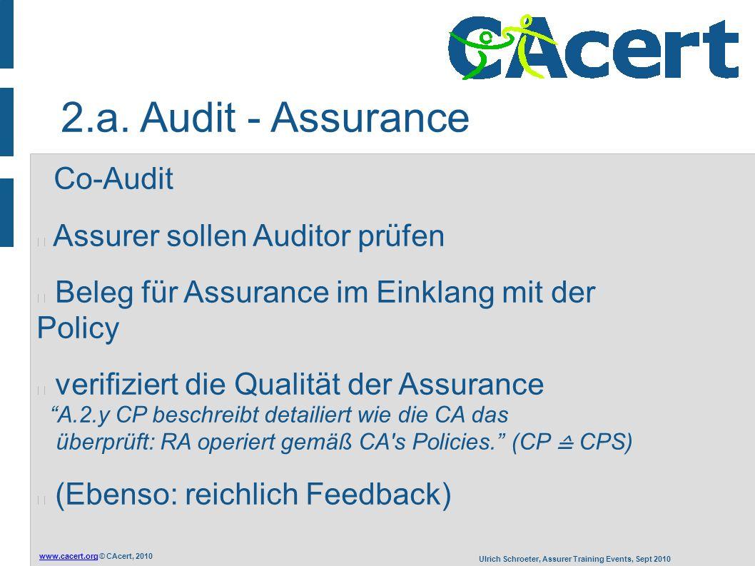 www.cacert.orgwww.cacert.org © CAcert, 2010 Ulrich Schroeter, Assurer Training Events, Sept 2010 Co-Audit Assurer sollen Auditor prüfen Beleg für Assu