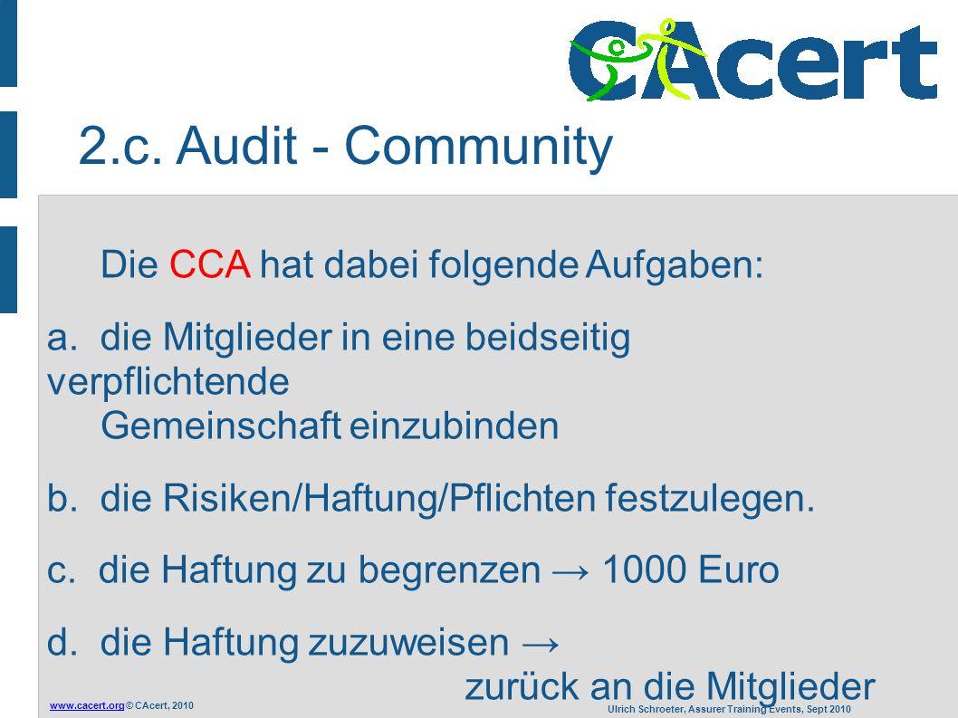 www.cacert.orgwww.cacert.org © CAcert, 2010 Ulrich Schroeter, Assurer Training Events, Sept 2010 Die CCA hat dabei folgende Aufgaben: a. die Mitgliede