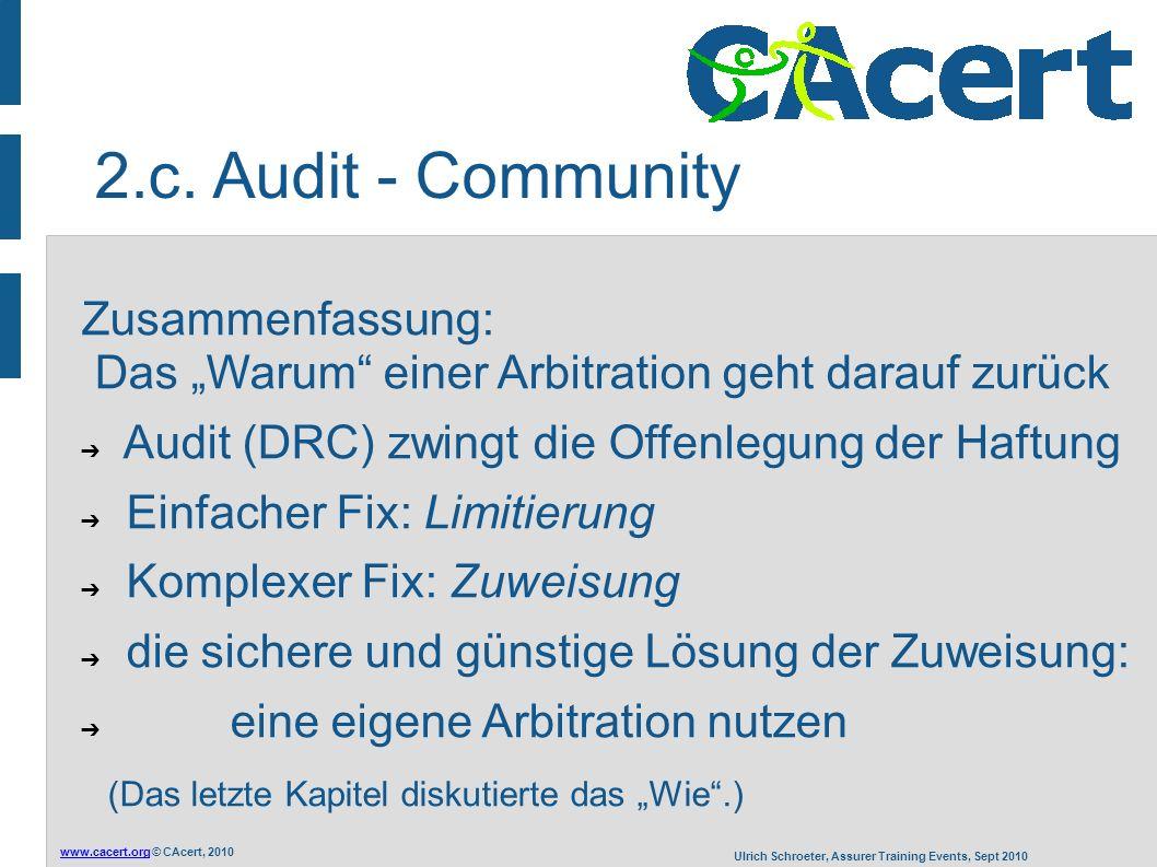 """www.cacert.orgwww.cacert.org © CAcert, 2010 Ulrich Schroeter, Assurer Training Events, Sept 2010 Zusammenfassung: Das """"Warum"""" einer Arbitration geht d"""