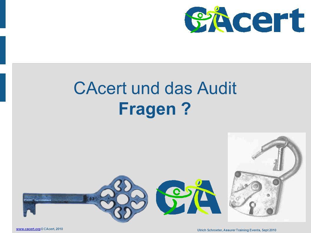 www.cacert.orgwww.cacert.org © CAcert, 2010 Ulrich Schroeter, Assurer Training Events, Sept 2010 CAcert und das Audit Fragen ?