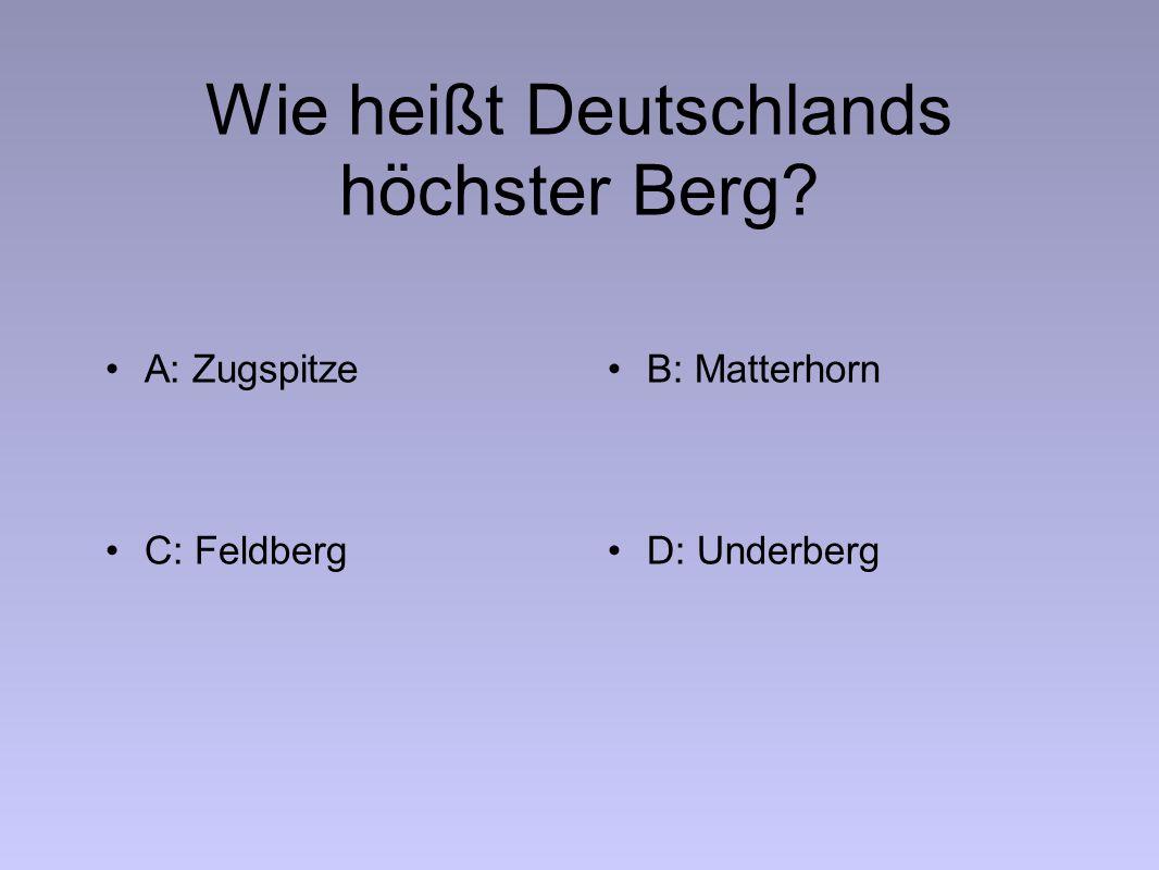 Wie heißt Deutschlands höchster Berg A: ZugspitzeB: Matterhorn C: FeldbergD: Underberg