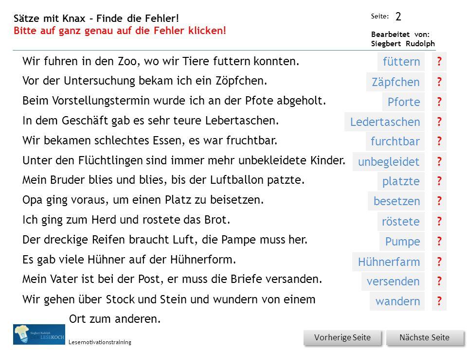 Übungsart: Seite: Bearbeitet von: Siegbert Rudolph Lesemotivationstraining 2 Sätze mit Knax – Finde die Fehler.