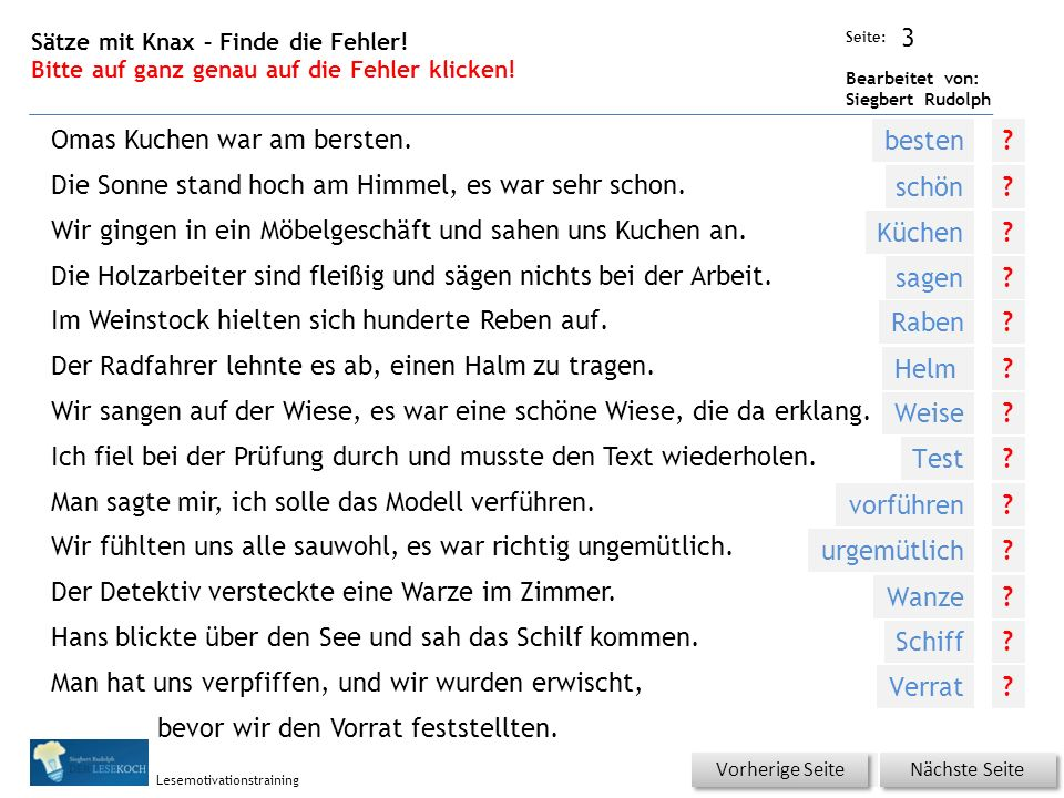 Übungsart: Seite: Bearbeitet von: Siegbert Rudolph Lesemotivationstraining 3 Sätze mit Knax – Finde die Fehler.