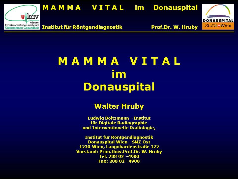 M A M M A V I T A L im Donauspital Institut für Röntgendiagnostik Prof.Dr. W. Hruby M A M M A V I T A L im Donauspital Walter Hruby Ludwig Boltzmann -