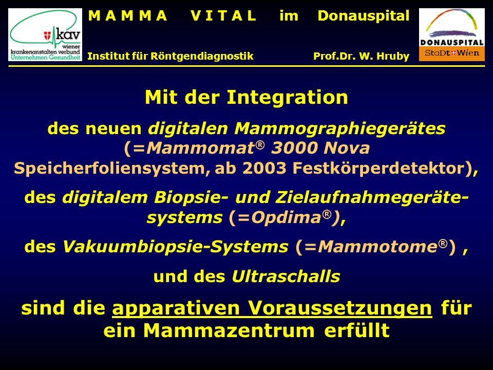 M A M M A V I T A L im Donauspital Institut für Röntgendiagnostik Prof.Dr. W. Hruby Mit der Integration des neuen digitalen Mammographiegerätes (=Mamm