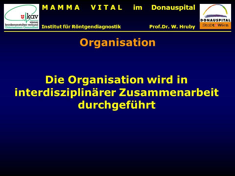 M A M M A V I T A L im Donauspital Institut für Röntgendiagnostik Prof.Dr. W. Hruby Die Organisation wird in interdisziplinärer Zusammenarbeit durchge