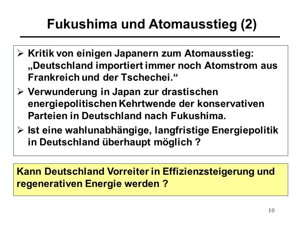 """10 Fukushima und Atomausstieg (2)  Kritik von einigen Japanern zum Atomausstieg: """"Deutschland importiert immer noch Atomstrom aus Frankreich und der"""