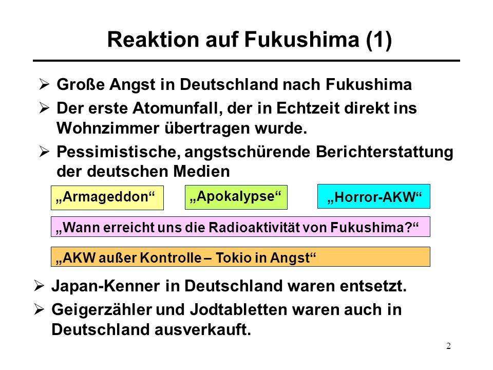 2 Reaktion auf Fukushima (1)  Große Angst in Deutschland nach Fukushima  Der erste Atomunfall, der in Echtzeit direkt ins Wohnzimmer übertragen wurde.