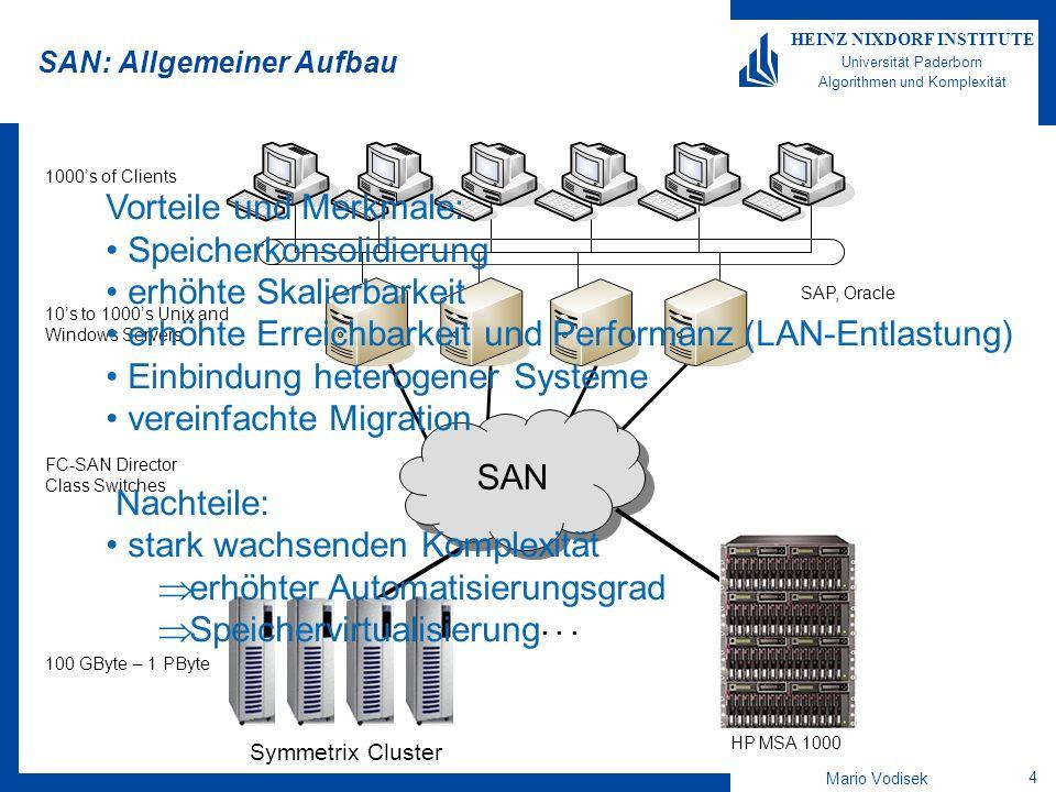 """Mario Vodisek 5 HEINZ NIXDORF INSTITUTE Universität Paderborn Algorithmen und Komplexität Speichervirtualisierung Abstraktion des Speichers, die eine Trennung zwischen Host-Sicht und Speicherimplementierung vornimmt Verbirgt für den Host: –Physikalische Verbindung zum Speichersystem –Charakteristiken des Speichersystems –Exakten Ort der Datenspeicherung Dynamisch –Ermöglich """"On-the-fly Konfiguration und Skalierung –Daten sind für den Host transparent verschiebbar Verschiedene Arten der Umsetzung möglich –Ebenen (Disksubsystem, etc.) –Arten (in-band, out-of-band)"""