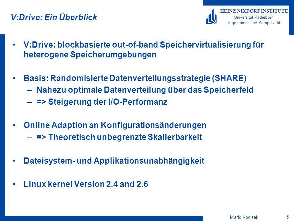 Mario Vodisek 7 HEINZ NIXDORF INSTITUTE Universität Paderborn Algorithmen und Komplexität V:Drive: Modularer Aufbau SAN Cluster Umgebung Metadata-Server Speicher V:Drive Pool 1 Pool 2 Virtual (V:Drive) Volume SHARE