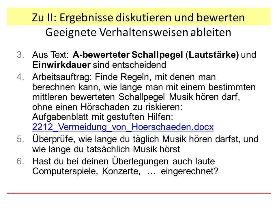 Zu II: Ergebnisse diskutieren und bewerten Geeignete Verhaltensweisen ableiten 3.Aus Text: A-bewerteter Schallpegel (Lautstärke) und Einwirkdauer sind entscheidend 4.Arbeitsauftrag: Finde Regeln, mit denen man berechnen kann, wie lange man mit einem bestimmten mittleren bewerteten Schallpegel Musik hören darf, ohne einen Hörschaden zu riskieren: Aufgabenblatt mit gestuften Hilfen: 2212_Vermeidung_von_Hoerschaeden.docx 2212_Vermeidung_von_Hoerschaeden.docx 5.Überprüfe, wie lange du täglich Musik hören darfst, und wie lange du tatsächlich Musik hörst 6.Hast du bei deinen Überlegungen auch laute Computerspiele, Konzerte, … eingerechnet