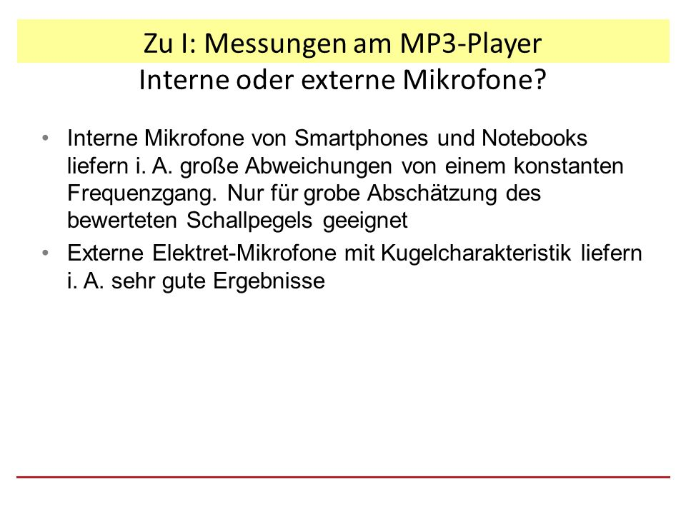 Zu I: Messungen am MP3-Player Interne oder externe Mikrofone.