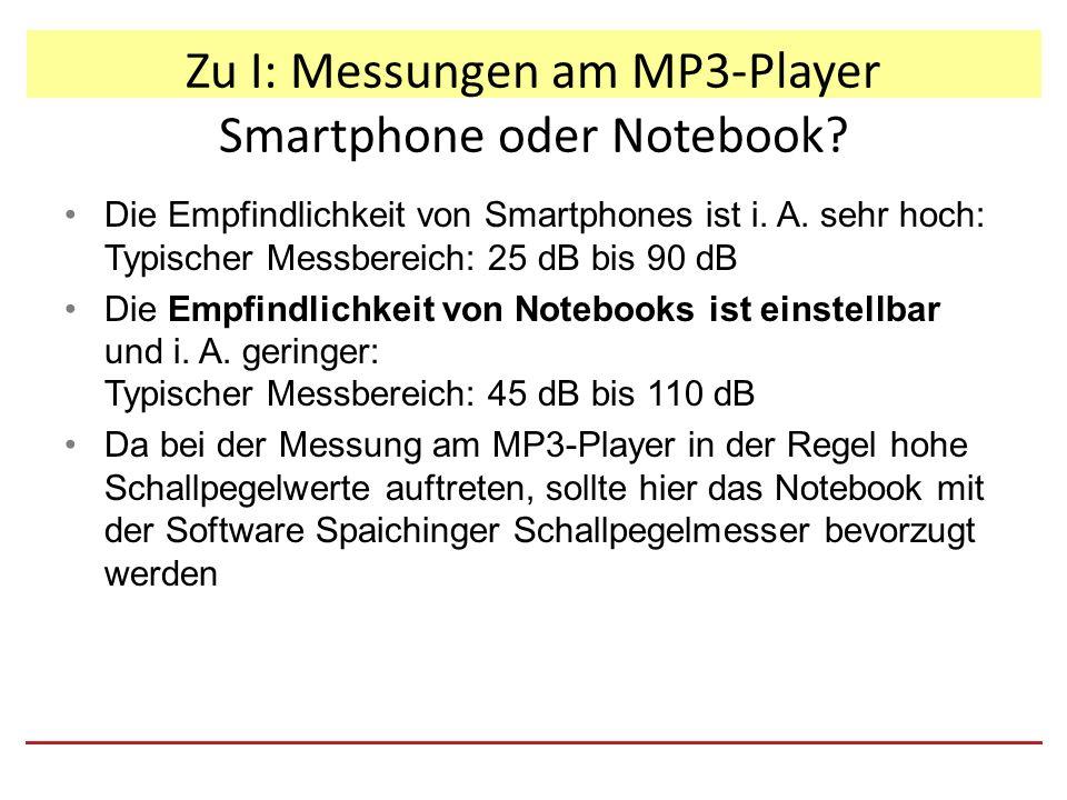 Zu II: Ergebnisse diskutieren und bewerten Geeignete Verhaltensweisen ableiten Nachdem die Grundlagen der Akustik bekannt sind und der Lernzirkel durchgeführt wurde: 1.Die im Lernzirkel erstellte Messwertetabelle für die bewerteten Schallpegel des MP3-Players beim Musikhören wird per Beamer der Klasse gezeigt.