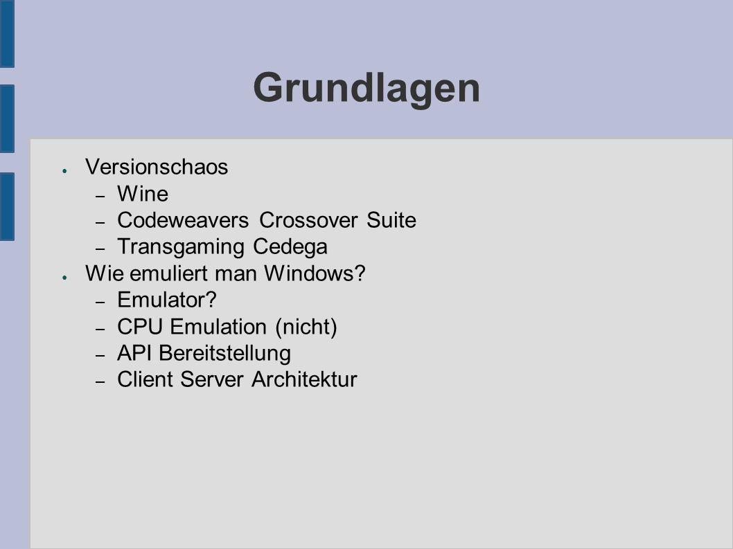 Grundlagen ● Versionschaos – Wine – Codeweavers Crossover Suite – Transgaming Cedega ● Wie emuliert man Windows.