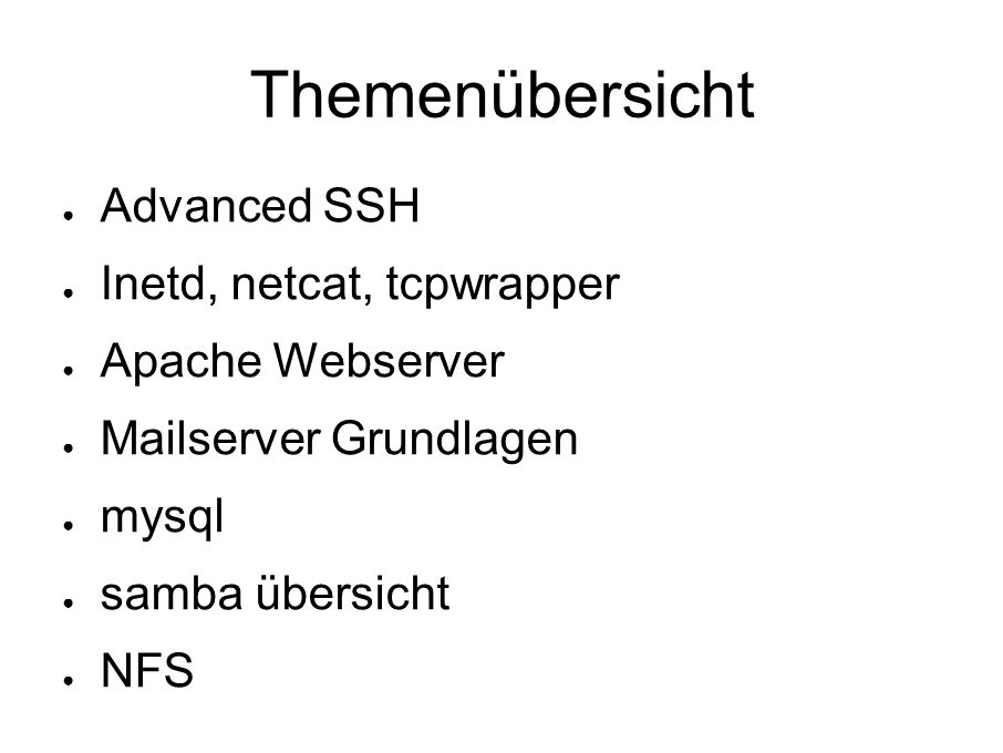 Einschub: Keys mit openssl # openssl req -new -nodes \ -newkey rsa:1024 -keyout mein.key \ -out mein.csr # openssl x509 -req -in mein.csr \ - signkey mein.key -out mein.crt \ - days 365 ● zur kontrolle: # openssl rsa -in mein.key -text # openssl req -in mein.csr -text # openssl x509 -in mein.crt -text