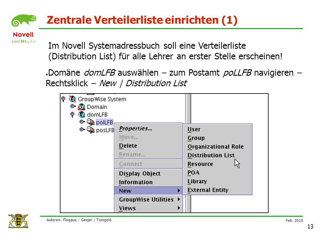 paed M L ® 3.x Feb. 2010 Autoren: Flogaus / Geiger / Tonigold 13 Zentrale Verteilerliste einrichten (1) Im Novell Systemadressbuch soll eine Verteiler