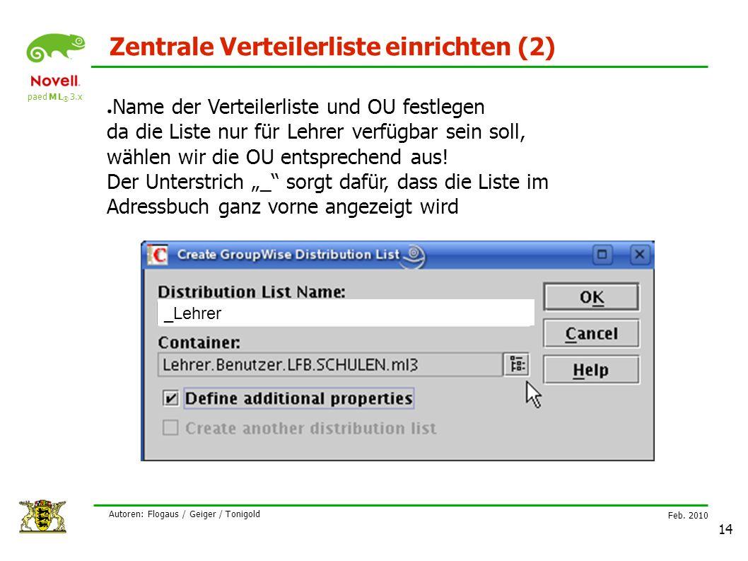 paed M L ® 3.x Feb. 2010 Autoren: Flogaus / Geiger / Tonigold 14 Zentrale Verteilerliste einrichten (2) ● Name der Verteilerliste und OU festlegen da