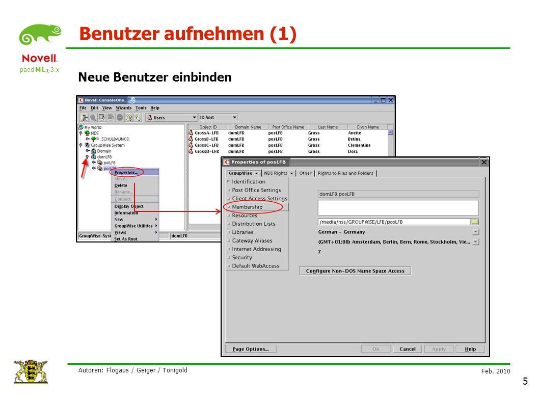 paed M L ® 3.x Feb. 2010 Autoren: Flogaus / Geiger / Tonigold 5 Benutzer aufnehmen (1) Neue Benutzer einbinden
