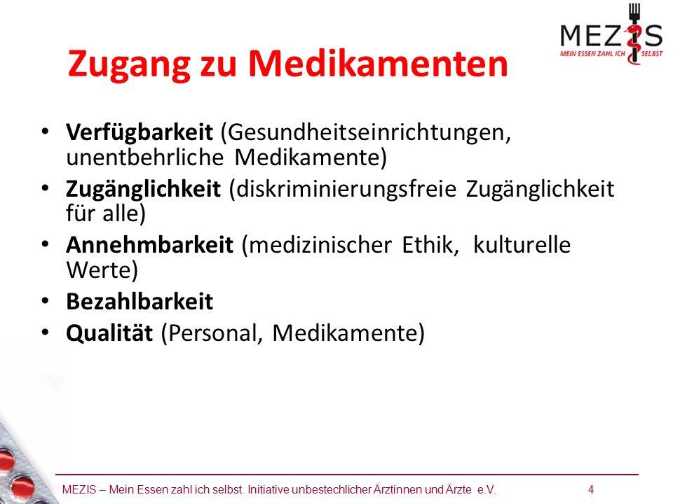 MEZIS – Mein Essen zahl ich selbst. Initiative unbestechlicher Ärztinnen und Ärzte e.V. 4 Zugang zu Medikamenten Verfügbarkeit (Gesundheitseinrichtung