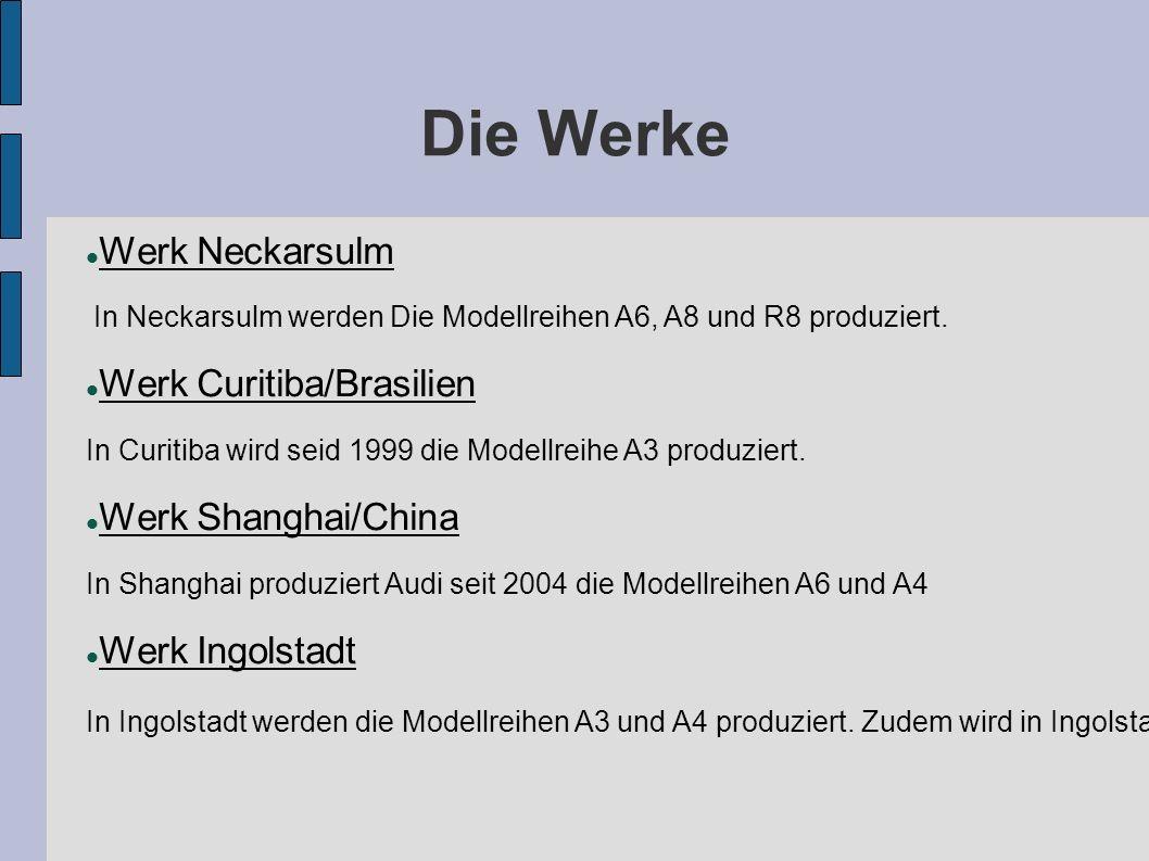 Die Werke Werk Neckarsulm In Neckarsulm werden Die Modellreihen A6, A8 und R8 produziert.